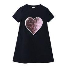 Sequin Love Children Girls Dress Cotton Short Sleeve Kids Dresses For Girls Summer Children Girl Clothing O-Neck Birthday Dress