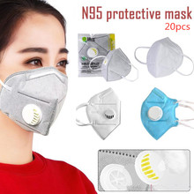 20pcs N95 mask respirator valve anti-pollution face same as FFP3 mask reusable anti-virus droplets spread PM2.5 anti-virus KN95