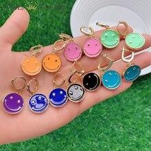 5 Pairs, New Enamel Smile Earrings For Women Girls Vintage Smile Disc Earrings Statement Party Hoop Earrings Fashion Jewelry