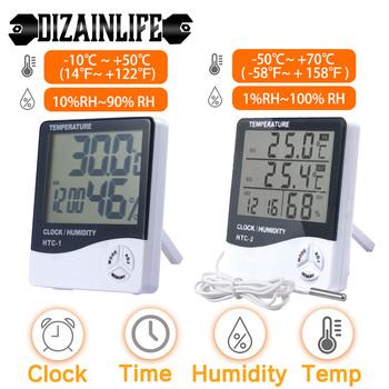 LCD elektroniczny cyfrowy termometr miernika wilgotności higrometr kryty odkryty stacja pogodowa z zegarem HTC-1 HTC-2 tanie i dobre opinie DIZAINLIFE CN (pochodzenie) 105786 49 ° C i Pod DIGITAL Indoor Bateria AAA Do położenia i na ścianę 2 0 - 3 9 cala