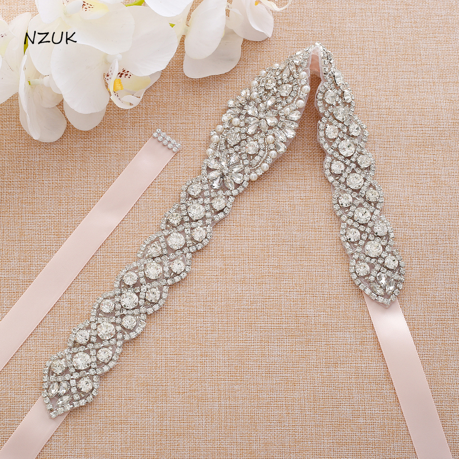 Luxurious Silver Bridal Belt  Crystal Wedding Belt With Pearls  Rhinestones Ribbons Sash For Wedding Party Gown ZZY167S