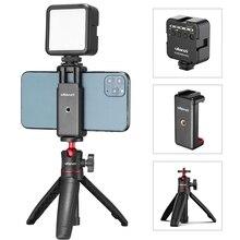 ULANZI ST 07 Vlog Smartphone zestaw wideo Rig z uchwytem na zimne buty Led wideo światło Mini statyw uchwyt telefonu dla iPhone 11 pro max