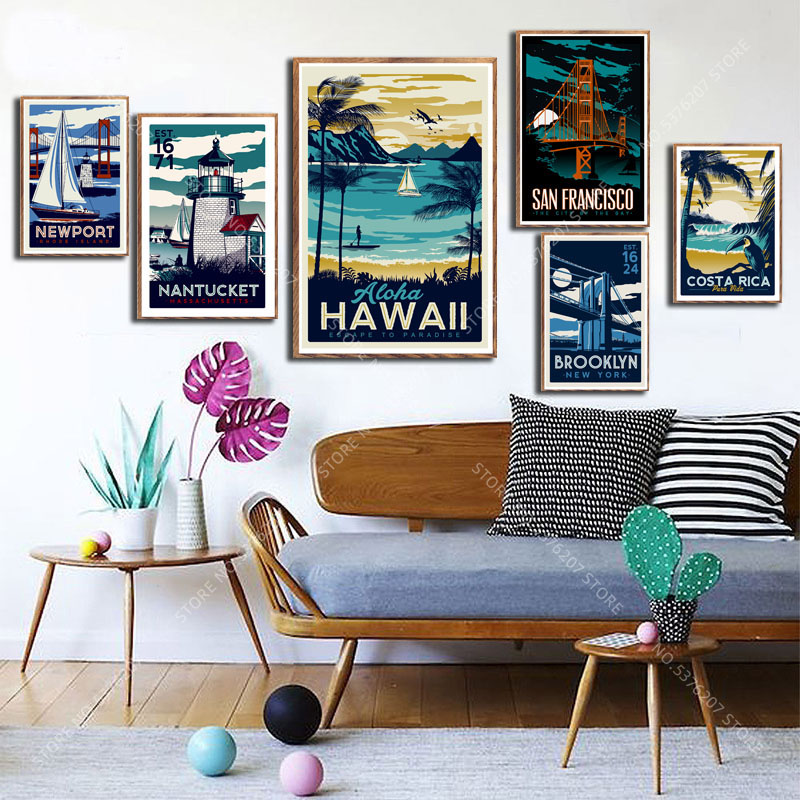 G006 Art Decor Costa Rica Havaii United States Country Vintage Travel Cities Landscape Wall Art Canvas Painting Silk Poster Painting Calligraphy Aliexpress