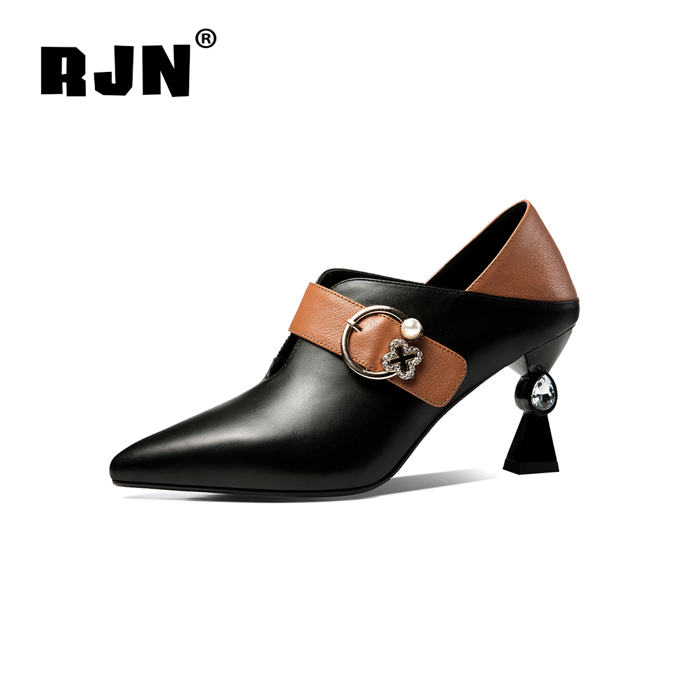 Buy RJN Sexy Pointed Toe Pumps Unique Strange Style Heel Buckle Strap Mixed Color Cow Leather Handmade Shoe Stylish Women Pumps RO62