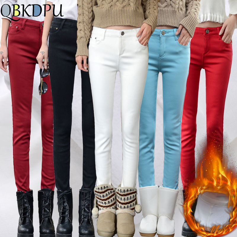 Women's Candy Color Thick Velvet Winter Warm Jeans Plus Size Skinny Warm Jeans For Woman Female Stretch Jeans Denim Pencil Pants