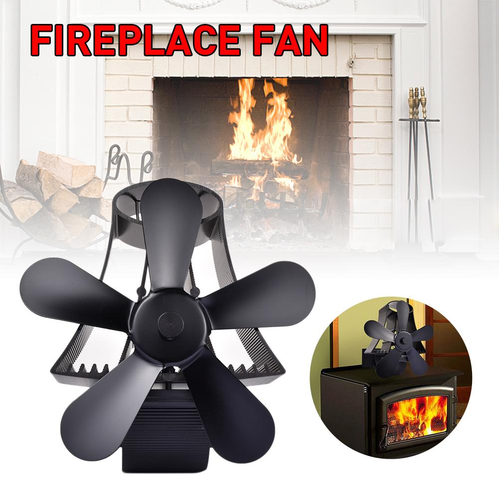 Black 5 Blades Heat Powered Stove Fan For Wood/Log Burner- Eco Friendly Home Fireplace Fan Efficient Heat Distribution