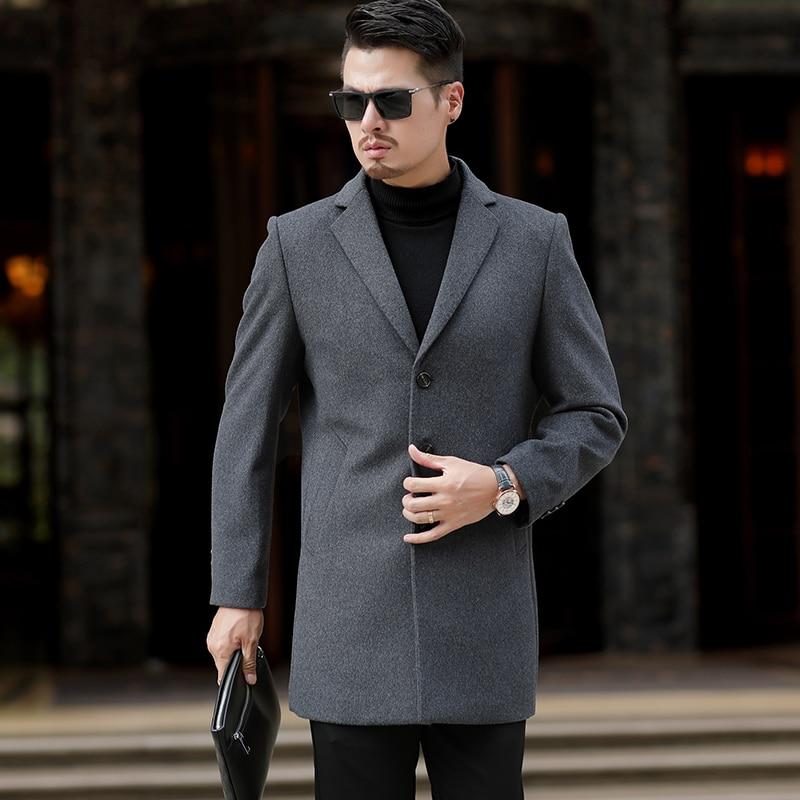 New Winter Wool Coat (man) Long Leisure Belt Wool Coat (man) Pure Leisure Men's Fashion / Leisure Coat (overcoat)