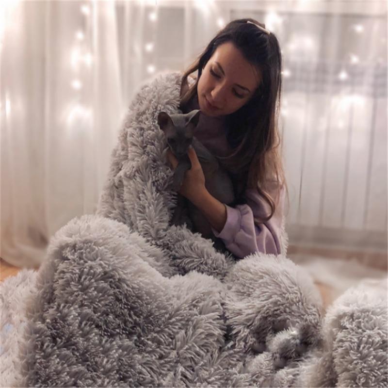 BeddingOutlet tüylü atmak battaniye yumuşak peluş bulanık yatak örtüsü battaniye renkli kabarık Faux kürk dekoratif kanepe için kanepe
