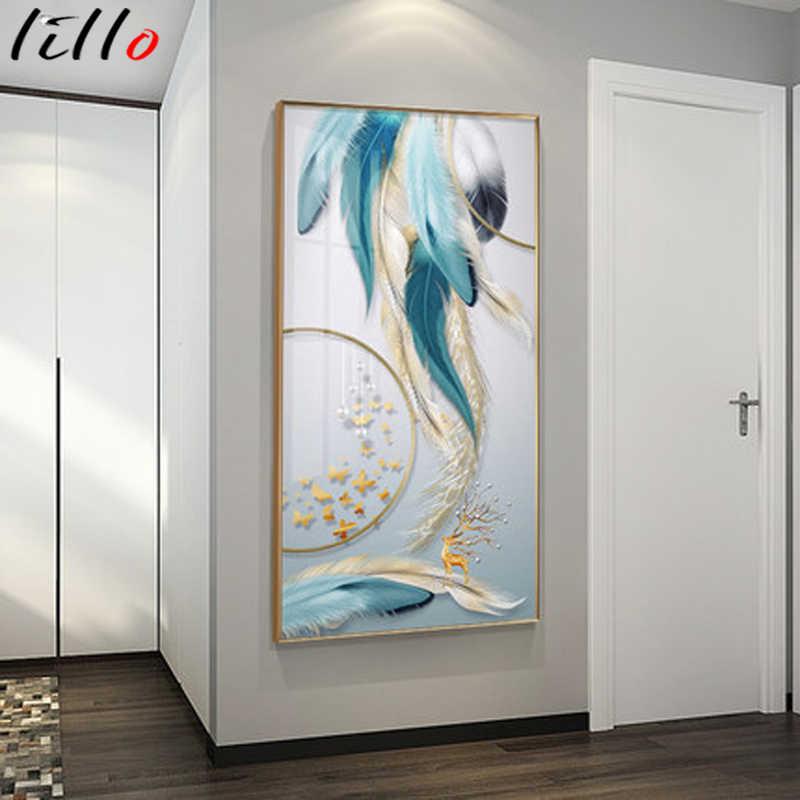 Картина на холсте с золотыми перьями, роскошсветильник ная Скандинавская картина, настенный плакат и печать, современные картины, домашний декор