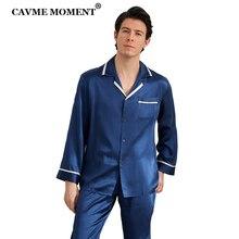 CAVME 100% الحرير بيجامة مجموعة للرجال أوم الفاخرة Homwear الأب ملابس خاصة 2 قطعة زائد الحجم الكلاسيكية تصميم بلون