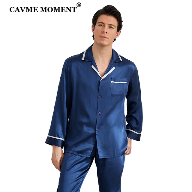 CAVME 100% Silk Pajama Set for Men Hommes Luxury Homwear Father Sleepwear 2 Pieces PLUS SIZE Classic Design Solid Color