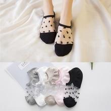 1 пара женские тонкие низкие крой женские нейлон прозрачные носки кристаллы шелк хлопок кружево сетка лодочка носки женские% 27 шорты лето носки