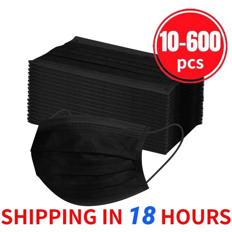 10/20/50/100/200/600 máscaras descartáveis dos pces máscaras faciais não tecidas filtro da dobra de 3 camadas anti poeira respirável adulto máscara da boca preto|Máscaras das mulheres|   -
