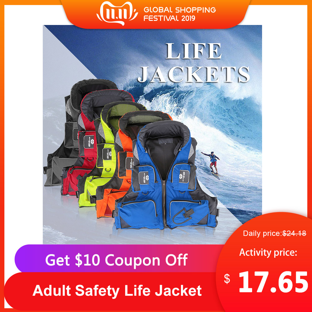 Lixada Adult Safety Life Jacket Fishing Polyester Survival Vest Swimming Boating Drifting Life Vest For Water Sports Safety