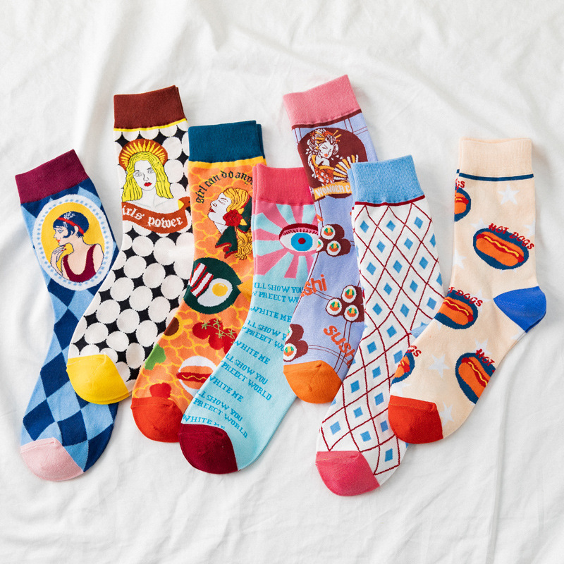 Lovely Cartoon Patterned Funny Socks Women Summer Comfortable Casual Art Socks Sweat Absorption Breathable Hipster Sox Trendy
