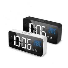 Music Alarm Clock LED Digital Clock 2 Alarms Voice Control Snooze Temperature Display Reloj Despertador Digital with USB Cable