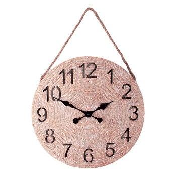 Vintage Wood Wall Clock Living Room European Mute American Decorative Clocks Nostalgic Round Wall Watches Home Decor 6W69