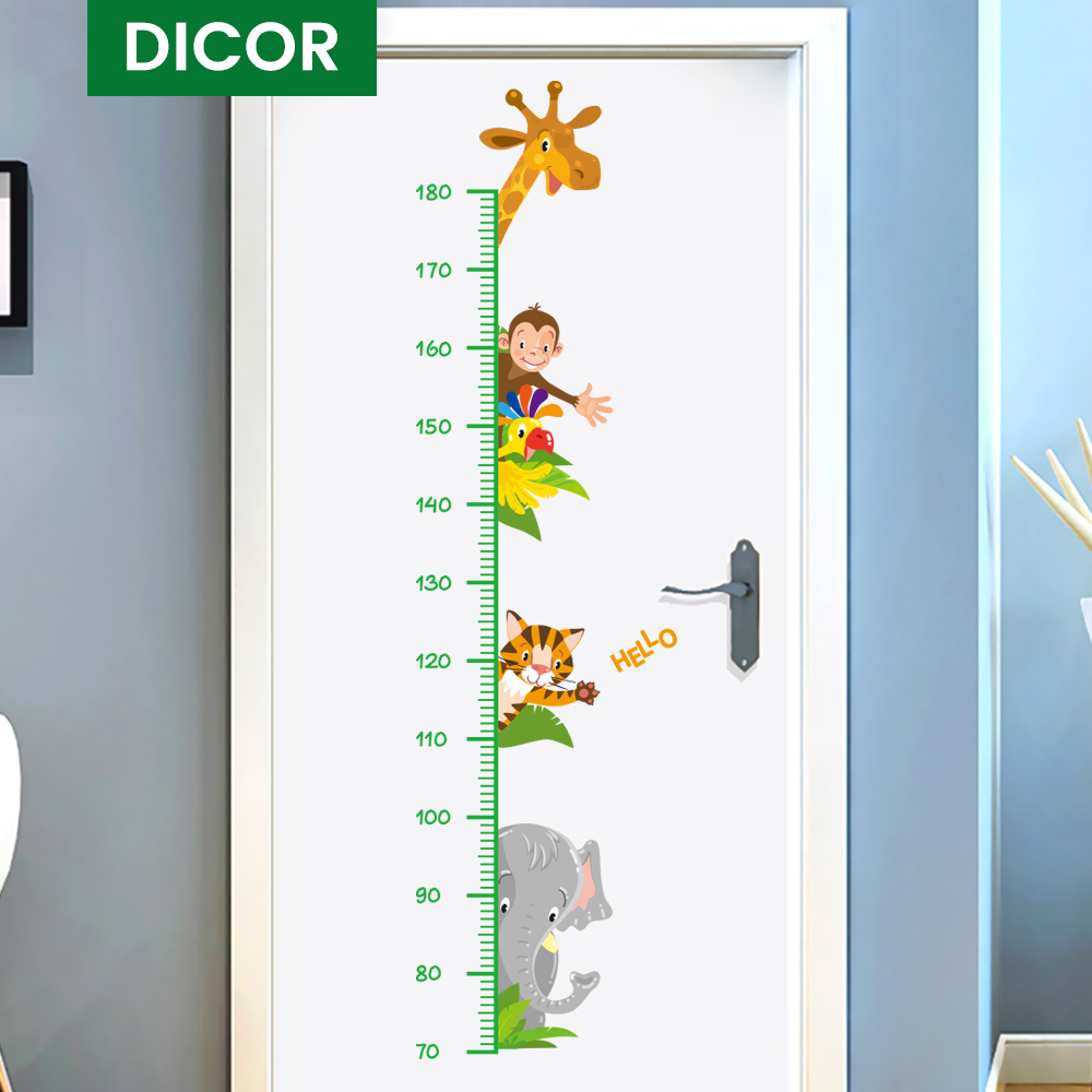 Original DICOR Kawaii Animals Cartoon Wall Stickers for Kids Rooms Baby Zimmer Deko Height Measure Wall Decals PVC Self-adhesive