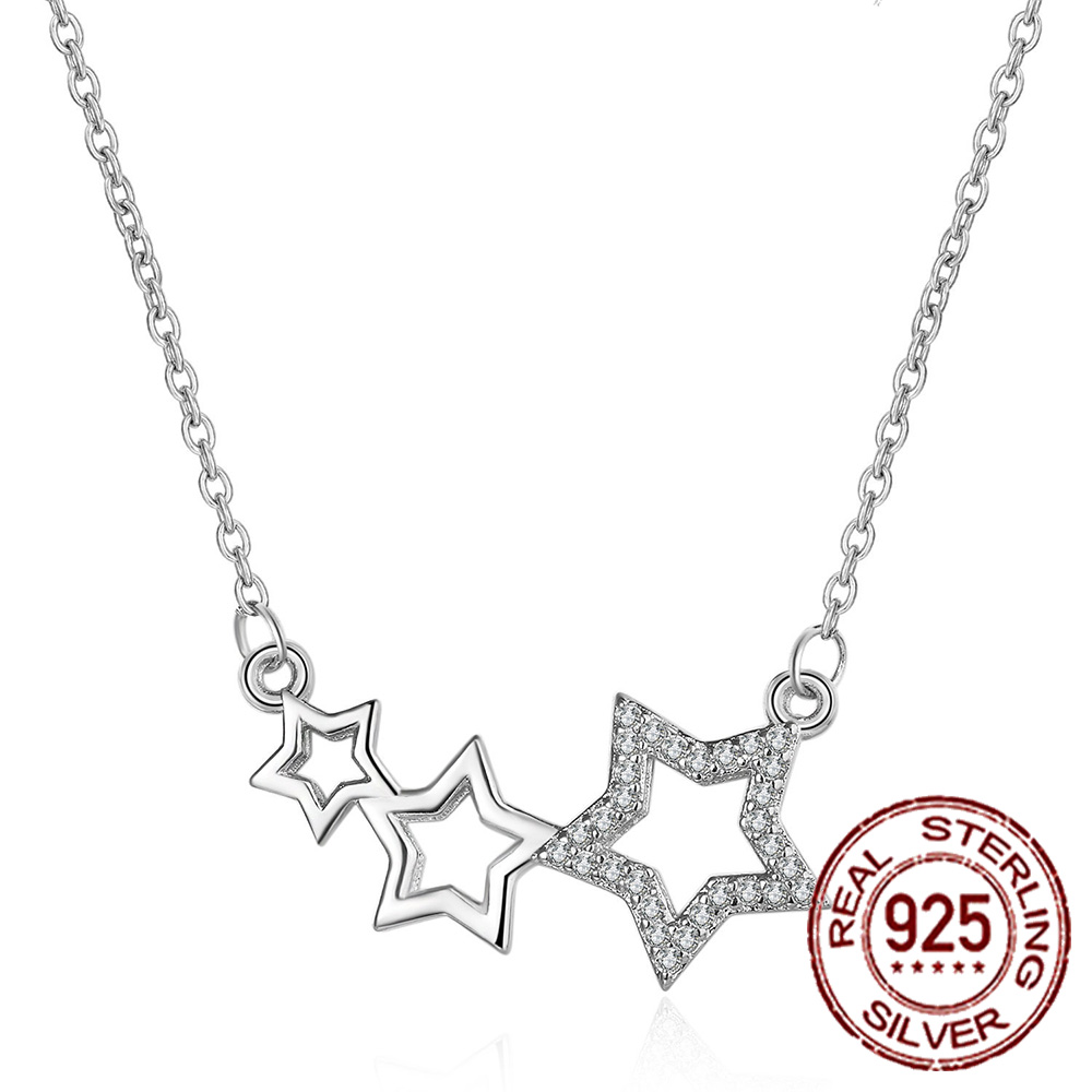 Fashion Full Diamond Necklace Female Fashion Wild Five-pointed Star Pendant Necklace S925 Sterling Silver Tiktok Popular