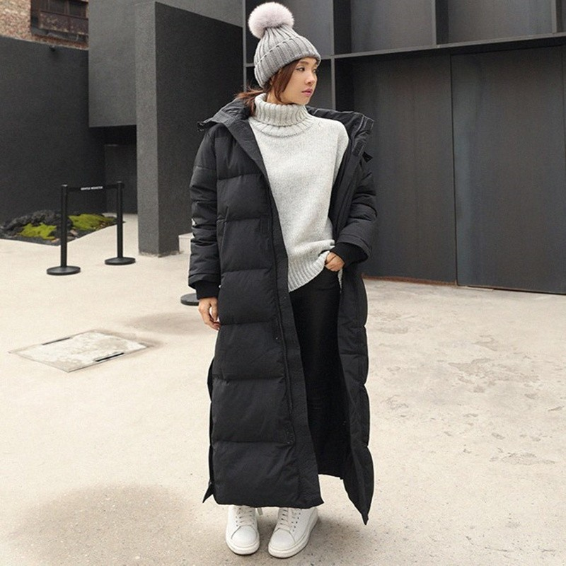X-long Winter Jacket Women 2019 Casual Black Split Hem Hooded   Parka   Female Thick Warm Cotton Coat Slim Plus Size Outwear