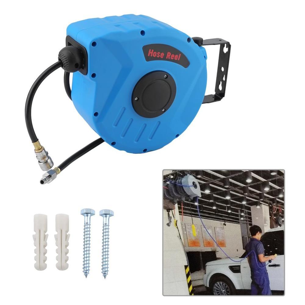 Auto Electric Rewind Compressed Air Hose Drum Pneumatic Hose Reel 10m Quick Coupling 3/8 Retractable Enclosed Reel