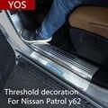 Für Nissan Patrol y62 2012-2019 sill edelstahl willkommen pedale helle streifen Patrol zubehör innen dekoration