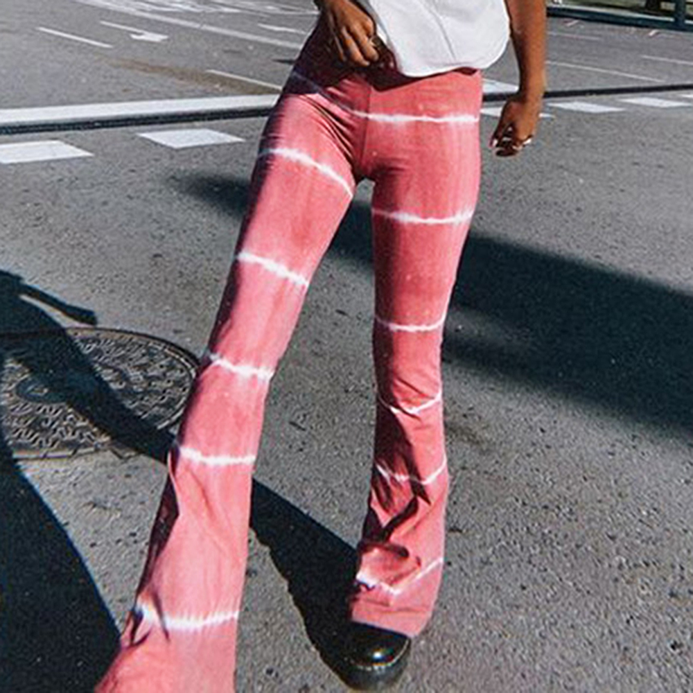 Jodimitty Summer Women's Tie dye Flared Pants High-Waist Trousers Stripes Casual Loose Slimming Pants Summer Bottoms 2020