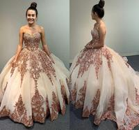 Luxurious Rose Gold Lace Beaded Quinceanera Prom Dresses Ball Gown Sweetheart Sparkly Tulle Evening Party Sweet 16 Dress Vestido