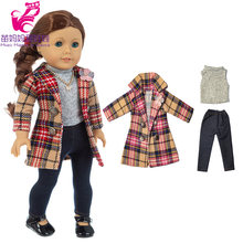 18 inch girl doll winter long Windbreaker play toy doll thick quality coat for 40 cm baby doll outfit(China)