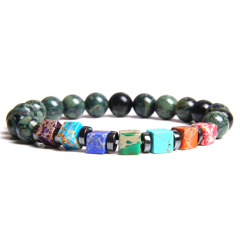 Hot Beaded Bracelet Square Colorful Emperor Stone Bead Bracelet Volcanic Frosted Stone Seven Chakra Yoga Energy Bracelets Men