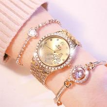 Women Watches Jewelry Stainless-Strap Gifts Diamond Female Ladies Luxury Dress Flower-Quartz