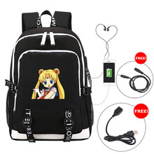 купить Sailor Moon Crystal Anime Backpack Multi-function USB Charging for Student Girls School Bags Travel Luminous Bag Laptop Pack по цене 3776.31 рублей