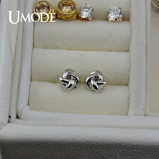 UMODE nouveau belle Rose or blanc couleur or mode cristal noeud boucles doreilles Bijoux pour femmes cadeau de noël Bijoux AJE0140