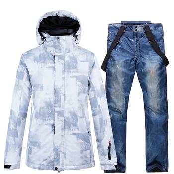 Narciarstwo kurtki i spodnie mężczyzn kombinezon narciarski snowboard zestawy bardzo ciepłe nieprzewiewne wodoodporna śnieg na świeżym powietrzu na świeżym powietrzu ubrania tanie i dobre opinie ARCTIC QUEEN Suknem WOMEN