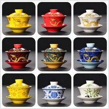 Китайские традиции ручная роспись Gaiwan костяной фарфор Чай комплекты Dehua высококачественный чай горшок фарфоровый набор для путешествий красивый чайник