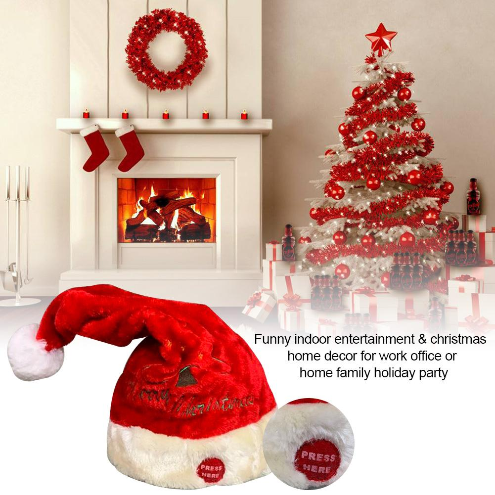Electric Toy Christmas Hat Red Velvet Embroidered Christmas Music Swing Cap Party Decoration Christmas Gift Music Swing Santa Cl