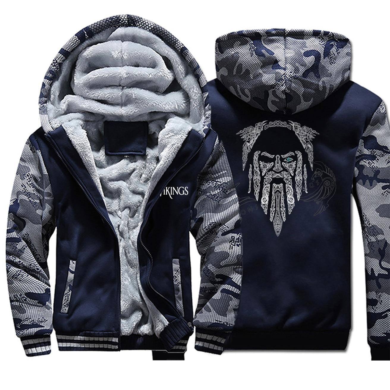 Fashion Tv Show Odin Viking Men Camo Hoodies Autumn Plus Size Zipper Tracksuit Fleece Sportswear Hip Hop Streetwear Men Outwear
