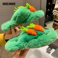 Faux Fur Cute Slippers Women Winter Plush Fluffy Home Slippers Fashion Girls Flat Furry Slides Female Warm Indoor Flip Flops fayuekey sweet spring summer autumn winter home fashion plush slippers women indoor floor flip flops for girls gift flat shoes