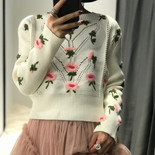 2019 Time-limited Promotion Cotton Sweater Women Women Paragraph Sweater Pullover Loose Heavy Embroidery Handmade Openwork Knit openwork asymmetrical sweater