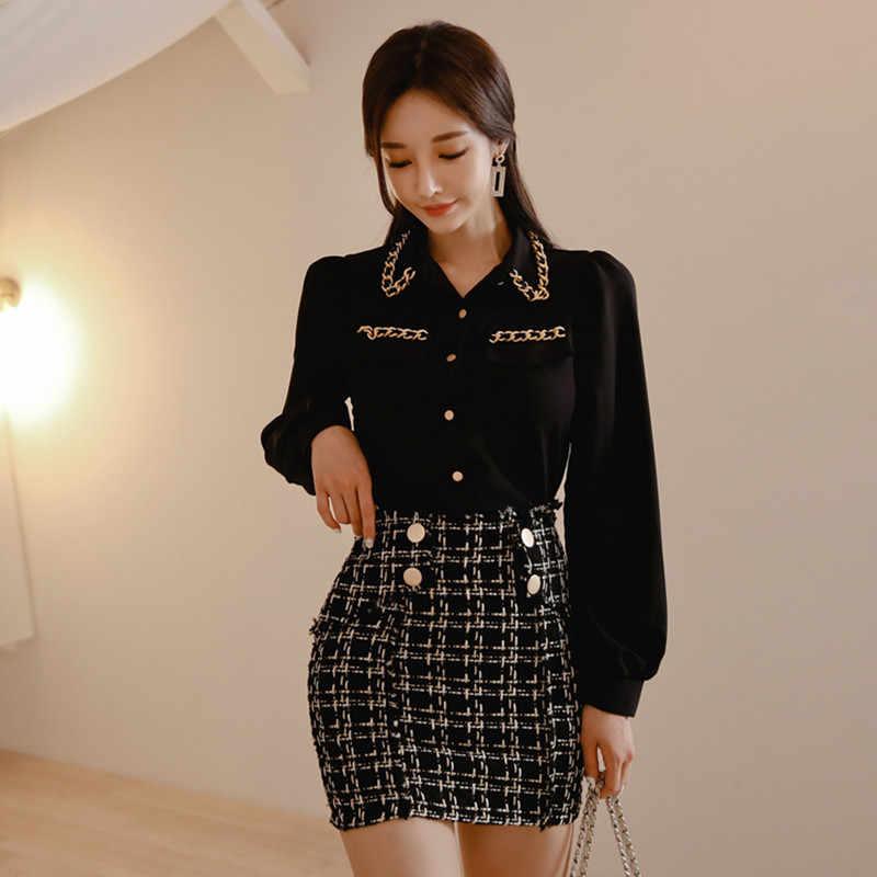 2020 primavera mujeres linterna manga negro gasa camisa blusa + Tweed Plaid lápiz Falda corta conjunto Oficina señora elegante 2 piezas Set