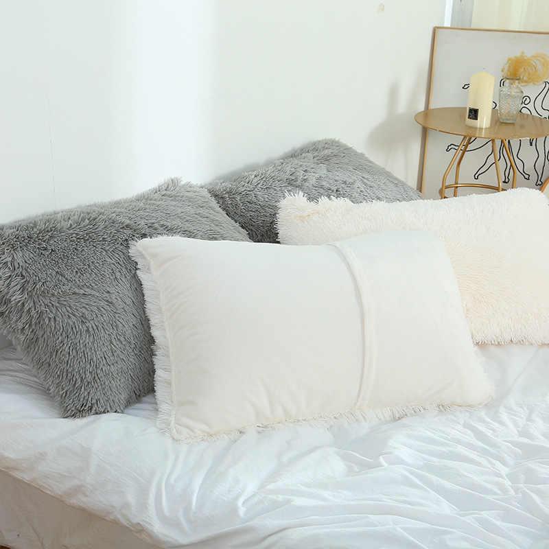 new 50x70cm soft pillow case winter warm long fluffy sleeping pillowcase home bed cushion pillow cover dropshipping