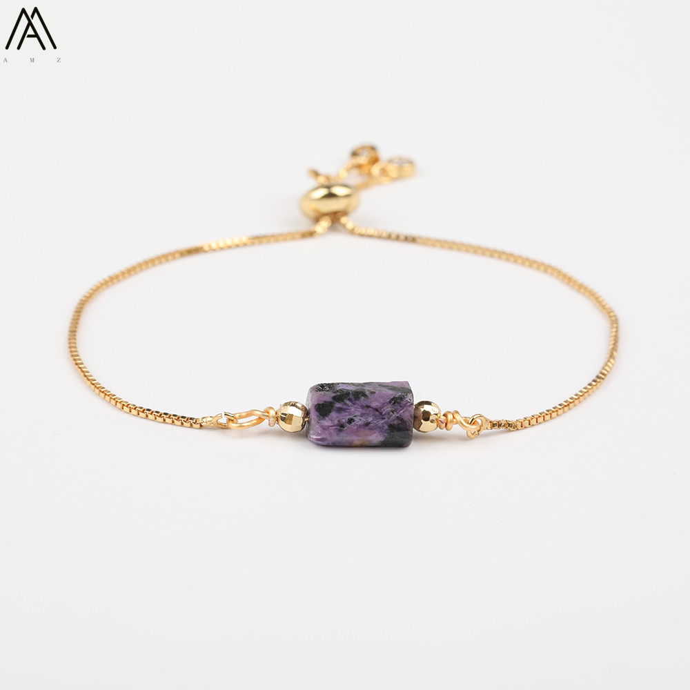 Женский браслет из натурального фиолетового камня Charoite, регулируемый браслет с кристаллами из необработанного камня, ювелирный подарок ...