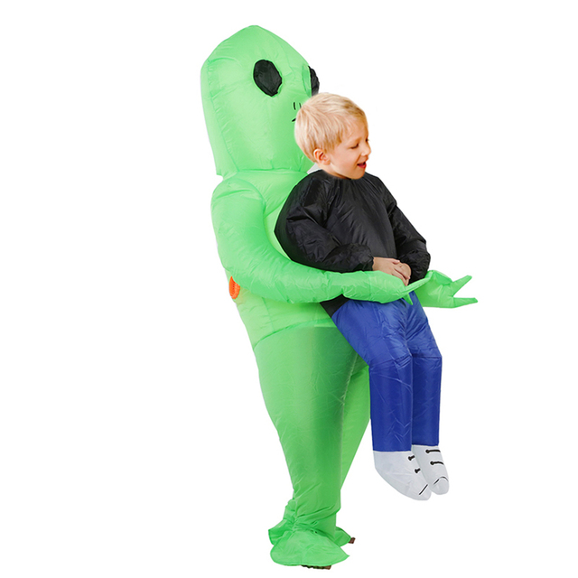 Halloween Costume For Women Men Inflatable Green Alien Cosplay children & Adult Funny Blow Up Pak Party Fancy Dress Party mask 1