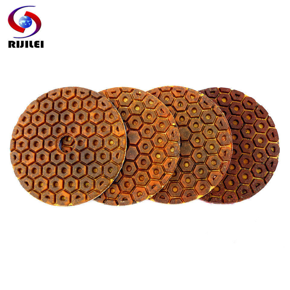RIJILEI 4PCS Super 4inch Diamond Polishing Pads Copper Bond Wet Polishing Pad For Granite Marble Concrete Floor Grinding Discs