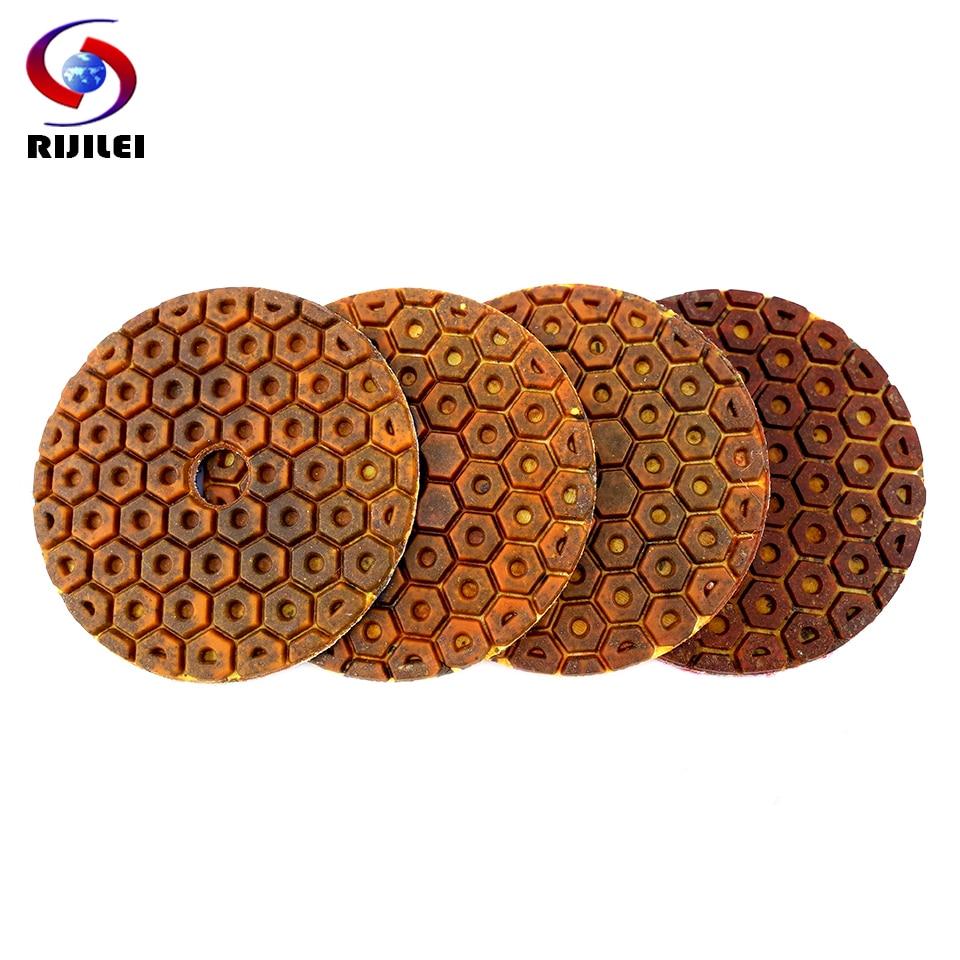 RIJILEI 4PCS Super 4inch Diamond Polishing Pads Copper Bond Wet Polishing Pad For Granite Marble Concrete Floor Grinding Discs