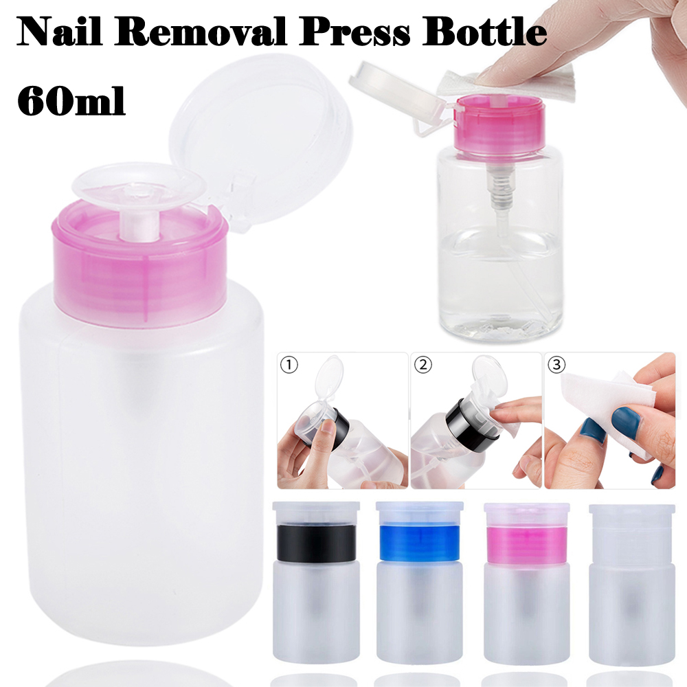 60ml Mini Pump Dispenser Empty Bottle Nail Remover Cleaner Liquid Container Storage Pressure Bottle Squeeze Bottle Nail Art Tool