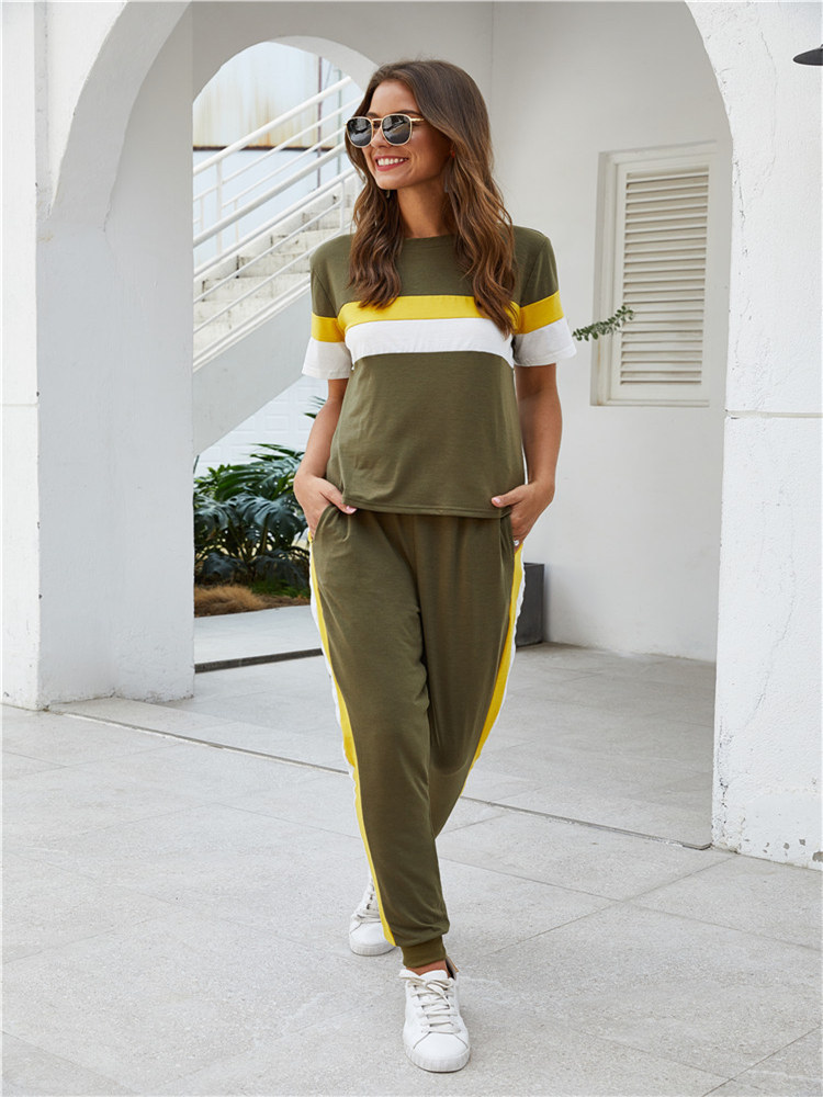 Summer Women's Color Matching Short-sleeved Sports Comfortable Suit Jogging Pants Sweater Suit Two-piece Fashion Sportswear
