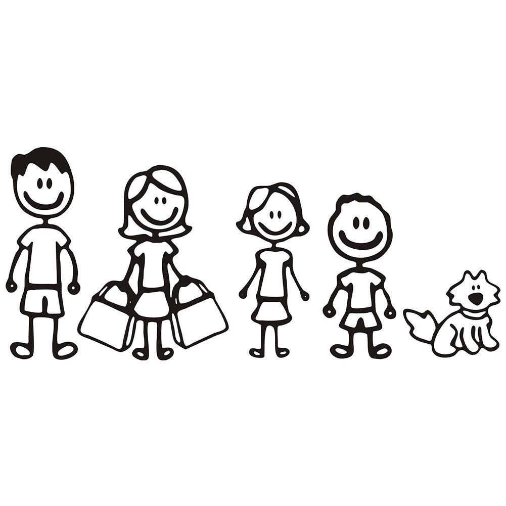 1 Pcs Lucu Vinyl Stiker Mobil Hitam Putih 18 5 Cm 8 Cm Gambar Satu Keluarga Ayah Ibu Anak Dan Anjing Peliharaan Auto Decal Stiker Mobil Mobil Stiker Aliexpress