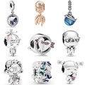 Женские браслеты-подвески в виде сердца, серебристые Подвески в виде сердца с кристаллами осьминога Пандора