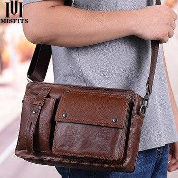 Brand 100% genuine leather men shoulder bag casual messenger bag for ipad man vintage crossbody shoulder bags with card holder
